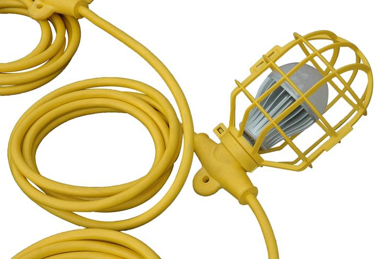 100ft Temporary Construction String Light - Ten LED Work Lamps - 100 Watt LED Stringer - Larson ...